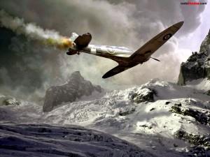 Postal: Avioneta a punto de estrellarse