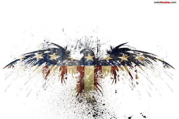 Aguila con la bandera de Estados Unidos