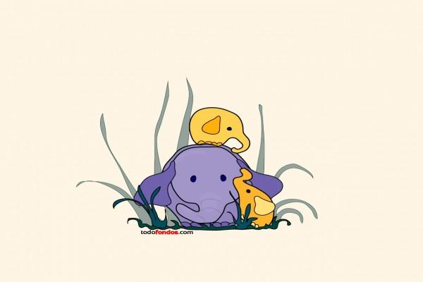 Dibujo de una familia de elefantes
