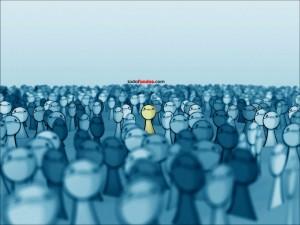 Postal: Alguien en un mar de gente