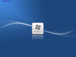 Postal: Logo de Windows 7 en fondo azul