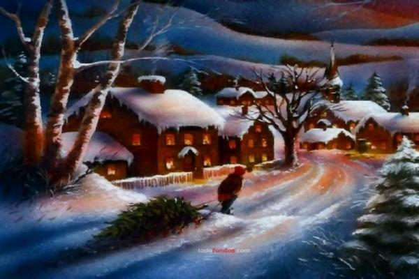 Pueblo nevado en Navidad