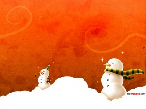 Muñecos de nieve festejando la Navidad