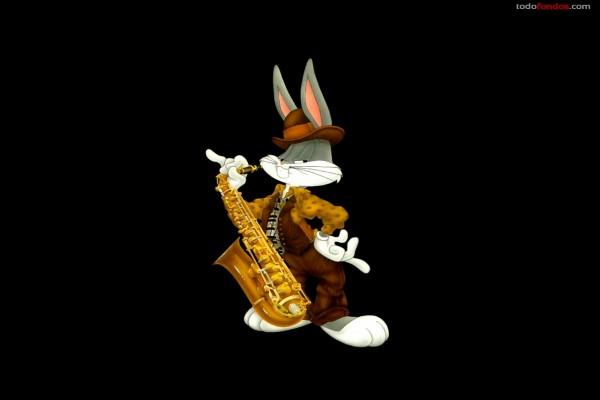 Bugs Bunny con un saxofón