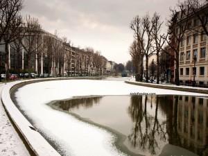Postal: El Canal Saint Martin (París) nevado