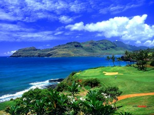 Postal: Campo de golf en Hawái