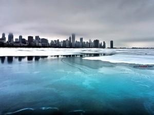 Postal: Hielo sobre el lago