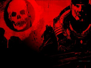 Dibujo de Gears of War en rojos