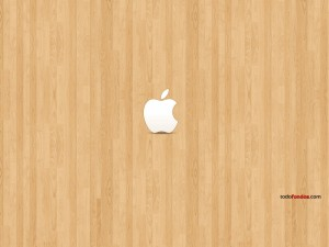 Postal: Logo de Apple sobre madera