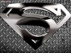 Postal: Logo metálico de Superman