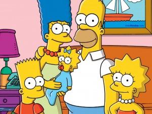 Postal: La familia Simpson en el salón de su casa