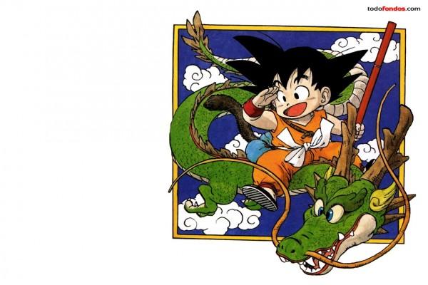 Son Goku sobre un dragón
