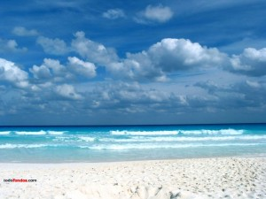 Postal: Fondo de una playa caribeña