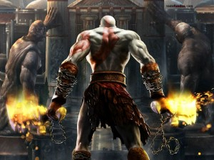 Kratos de espaldas (God of War)