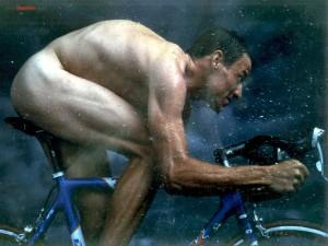 Postal: Lance Armstrong, desnudo sobre la bicicleta