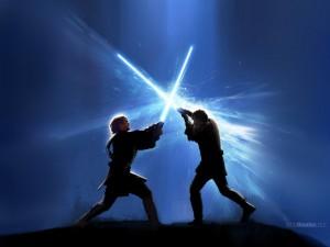 Postal: Combate con espadas láser (o sables de luz)