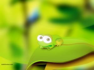 Postal: Ranita verde de ojos saltones