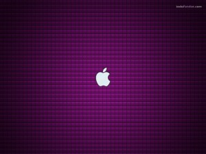 Logo de Apple sobre fondo púrpura