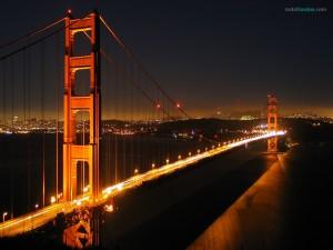 Postal: Puente Golden Gate de noche (California)