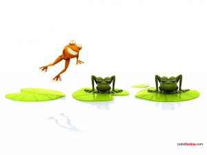 Postal: Una rana saltando