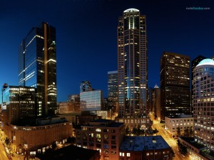 Postal: Seattle (Washington) de noche