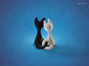 Postal: Gatitos enamorados