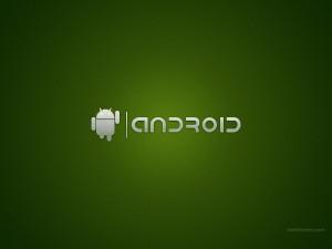 Logo metálico de Android, sobre fondo verde