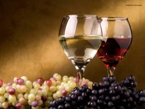 Postal: Vino blanco y vino tinto