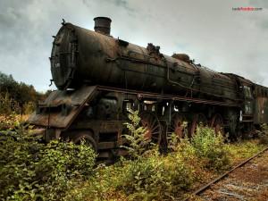 Postal: Una vieja locomotora
