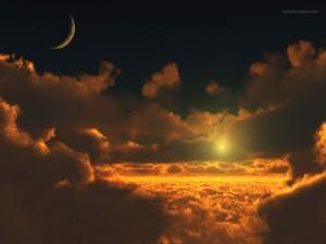 Postal: Sobre las nubes, con Sol y Luna