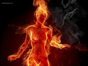 Postal: Mujer de fuego