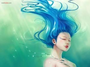 Postal: Dibujo de una sirena
