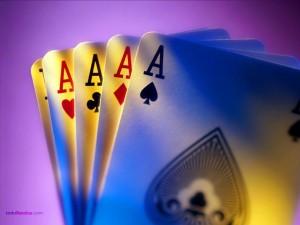Postal: Poker de ases, una mano ganadora