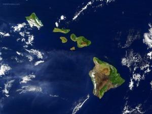 Hawái visto desde un satélite