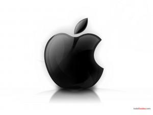 Postal: Logo de Apple en blanco y negro
