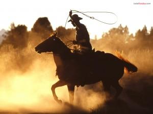 Postal: Vaquero con lazo