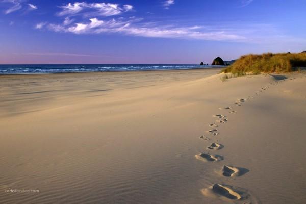 Pisadas en la playa