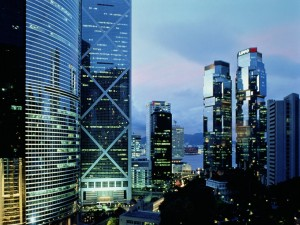 Postal: Rascacielos en Hong Kong