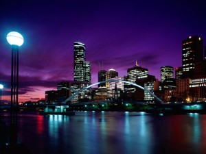 Postal: Melbourne de noche