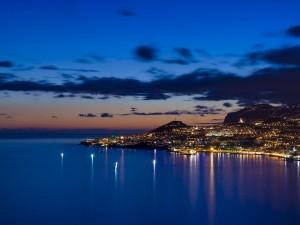 Postal: La bahía de Funchal en la isla de Madeira, Portugal
