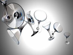 Postal: Copas de cristal