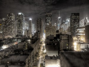 Postal: La ciudad de Nueva York de noche