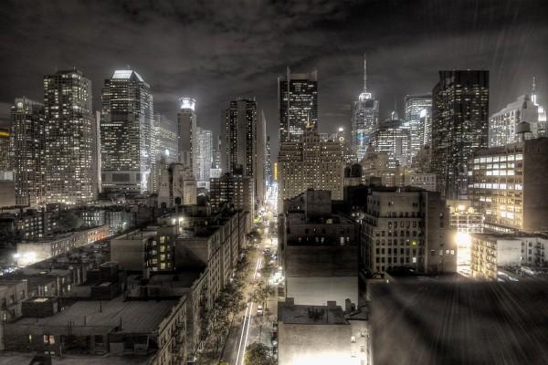 La ciudad de Nueva York de noche