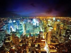 Postal: Luces nocturnas de la ciudad