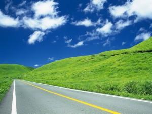 Postal: Atravesando una verde pradera