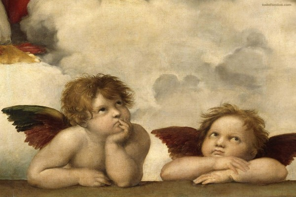 Pareja de ángeles en la bóveda de la Capilla Sixtina