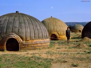 Cabañas Zulú, en África del Sur
