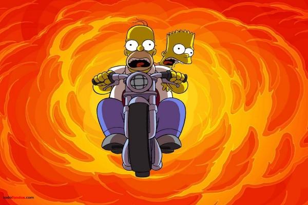 Bart y Homer Simpson en moto