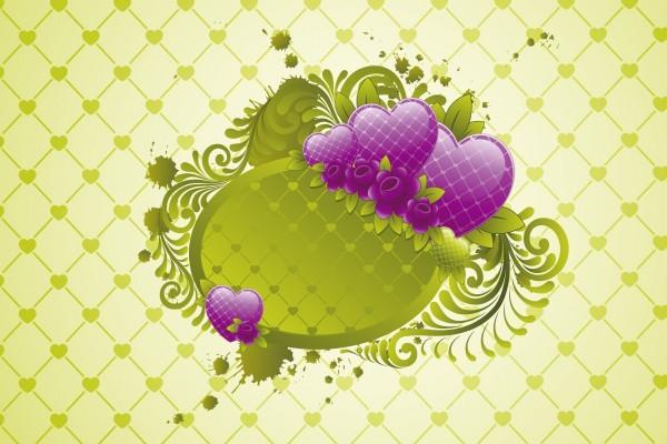 Corazones verdes y violetas