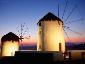 Postal: Molinos de viento de Mykonos (Grecia)